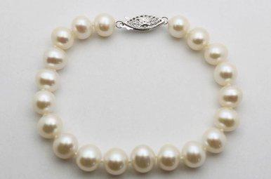 """14K White Gold 8-8.5mm Freshwater Pearl Strand Bracelet, 7.5"""""""