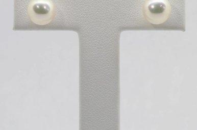 14K White Gold 7.5-8mm Freshwater Pearl Stud Earrings