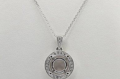 14K White Gold .26ctw Halo Semi Mount Diamond Pendant