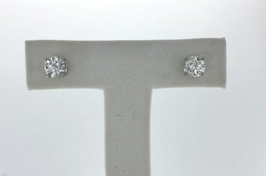 14k White Gold .80ctw Diamond (GH/SI1) Stud Earrings