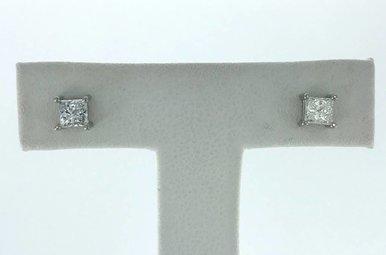 14k White Gold .53ctw Diamond Princess Cut Stud Earrings