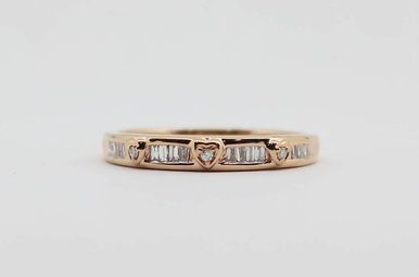 10KR 1/8ctw Round & Baguette Diamond Ladies Stackable Wedding Band