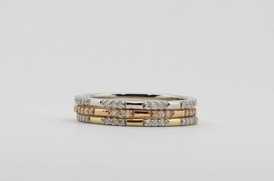10KW/R/Y 1/5ctw Set of 3 Stackable Ladies Diamond Bands