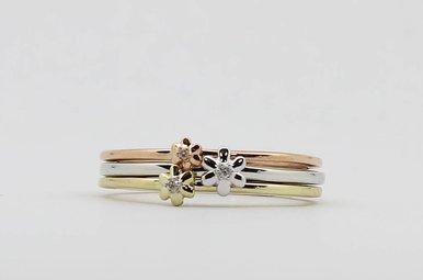 10KW/R/Y .02ctw Set of 3 Ladies Stackable Diamond Flower Rings