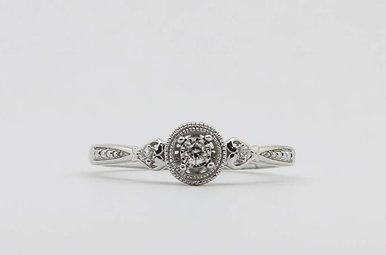 Sterling Silver .06ctw Round Brilliant Diamond Ladies Promise Ring