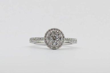 14KW 3/4ctw Round Brilliant Diamond Halo Engagement Ring