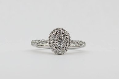 14KW/R 3/4ctw Round Brilliant Diamond Oval Halo Engagement Ring