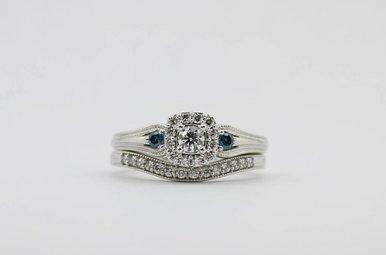 10KW 1/2ctw Blue & White Diamond Halo Wedding Set