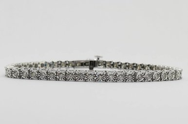 14KW 2ctw Round Brilliant Diamond Ladies Tennis Bracelet