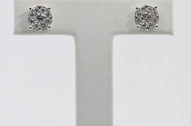 14KW 3/4ctw Round Brilliant Diamond Cluster Stud Earrings