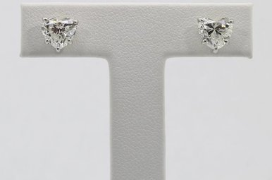 Platinum 2.85ctw Heart Shaped Diamond Stud Earrings