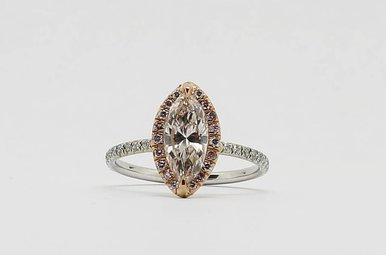18KW/R 1ct-Mq Halo Engagement Ring with Marquise Center Diamond / Pink & White Round Brilliants