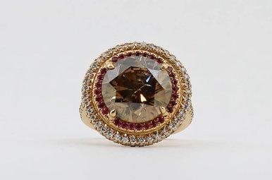 20KR 8ct Chocolate Diamond Ladies Halo Ring with Rubies & Light Pink Diamonds