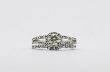 14KW .46ct-Ctr .96ctw Round Brilliant Diamond Halo Wedding Set