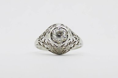 18KW .33ct Vintage Filigree Diamond Solitaire Engagement Ring