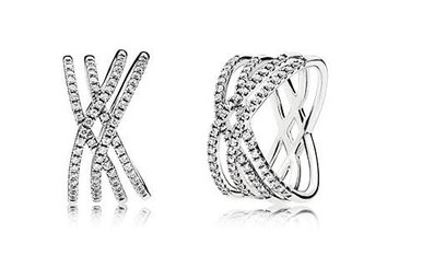 PANDORA Ring Cosmic Lines, Clear CZ - Size 56