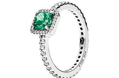 PANDORA Ring Timeless Elegance, Green & Clear CZ - Size 60