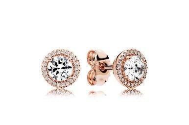 PANDORA Stud Earrings Classic Elegance PANDORA Rose, Clear CZ