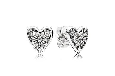PANDORA Stud Earrings Hearts of Winter, Clear CZ