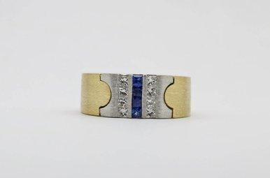 14KY/W .56ctw-Dia .35ctw-Saph Blue Sapphire & Princess Cut Diamond Gents Ring