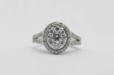 14KW 1ctw Oval Halo Round Brilliant Diamond Cluster Engagement Ring