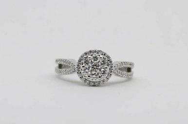 14KW 5/8ctw Round Brilliant Diamond Halo Cluster Engagement Ring