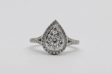 14KW 3/4ctw Pear Halo Round Brilliant Diamond Engagement Ring