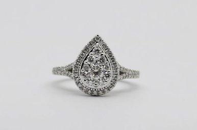 14KW 3/4ctw Pear Halo Round Brilliant Diamond Halo Engagement Ring