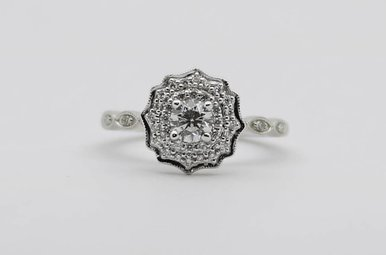 14KW 1/3ct-Ctr 1/2ctw Round Brilliant Diamond Halo Engagement Ring