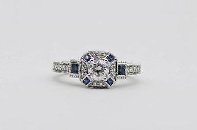14KW 3/8ct-Ctr 1/2ctw Blue Sapphire & Diamond Halo Engagement Ring (1/5ctw-SA)