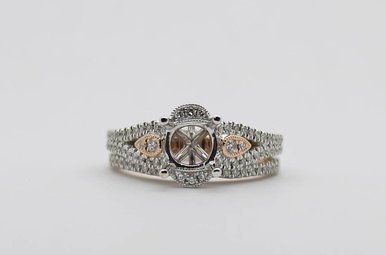 14KW/R 1/2ctw Round Brilliant Diamond Semi Mount Wedding Set