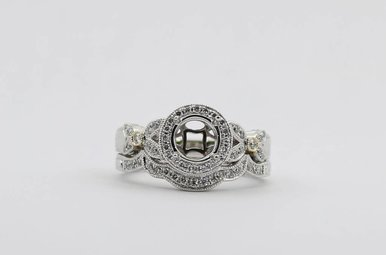 14KW/Y 3/8ctw Round Brilliant Diamond Engraved Halo Semi Mount Engagement Ring