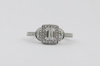 14KW .43ct-Ctr E/VS2 GIA 3/4ctw Emerald Cut & Round Brilliant Diamond Halo Engagement Ring