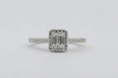 14KW .41ct-Ctr D/VS1 GIA 5/8ctw Emerald Cut & Round Brilliant Diamond Halo Engagement Ring