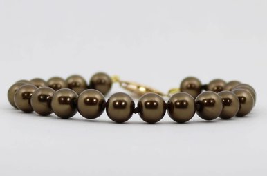 "Gold Filled 7.5-8mm 8"" Chocolate Freshwater Pearl Strand Bracelet"