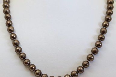 """Sterling Silver 7.5-8mm 18"""" Chocolate Freshwater Pearl Strand Necklace"""