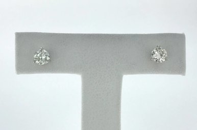 14k White Gold .60ctw Diamond Stud Earrings