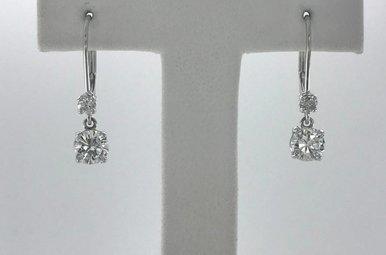 14k White Gold 1.07ctw Diamond Dangle Earrings