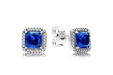 PANDORA Stud Earrings, Timeless Elegance, Blue Crystals & Clear CZ