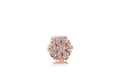 PANDORA Rose Shimmering Snowflake Petite Charm, Clear CZ