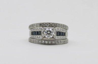14kw 1/2ct-Ctr Diamond & Blue Sapphire Wedding Set (Soldered Together)
