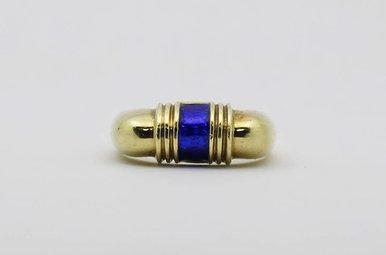 14ky Vintage Blue Enamel Ring