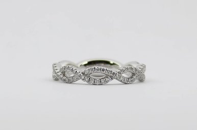 14kw .43ctw Ladies Diamond Stackable Infinity Wedding Band