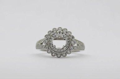 14kw .43ctw Diamond Double Halo Semi Mount Engagement Ring