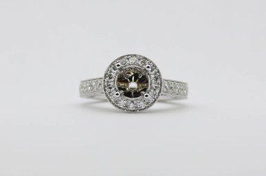 14kw .86ctw Diamond Halo Semi Mount Engagement Ring