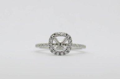 14kw .38ctw Diamond Halo Semi Mount Engagement Ring