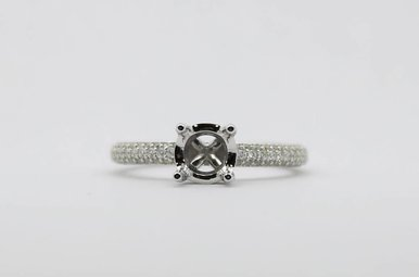 14kw .66ctw Pave' Diamond Semi Mount Engagement Ring