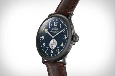 Shinola Runwell 47mm Gunmetal Case, Midnight Blue Dial, Cattail Grizzly Brown Leather Strap Watch