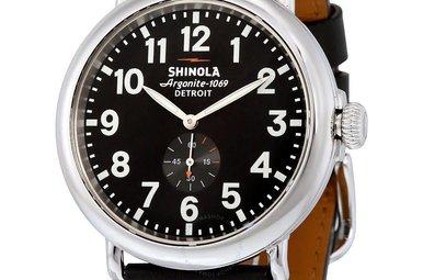 Shinola Runwell 47mm Black Dial, Black Leather Strap Watch