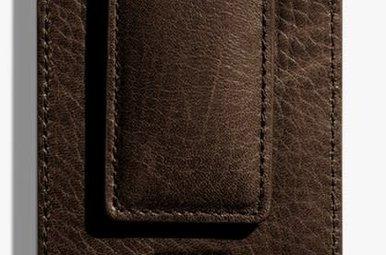 Shinola Magnetic Money Clip Wallet Deep Brown